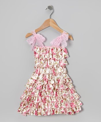 Pink Floral Tiered Ruffle Dress - Infant, Toddler & Girls