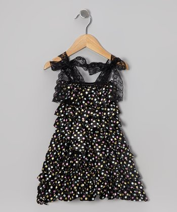 Black Polka Dot Tiered Ruffle Dress - Infant, Toddler & Girls
