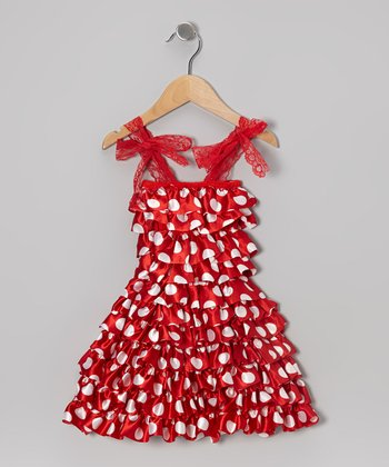 Red Polka Dot Tiered Ruffle Dress - Infant, Toddler & Girls