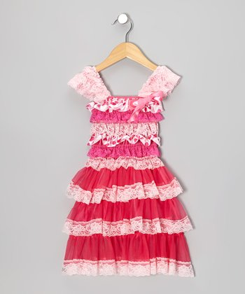 Hot Pink Heart Tier Ruffle Dress - Infant, Toddler & Girls
