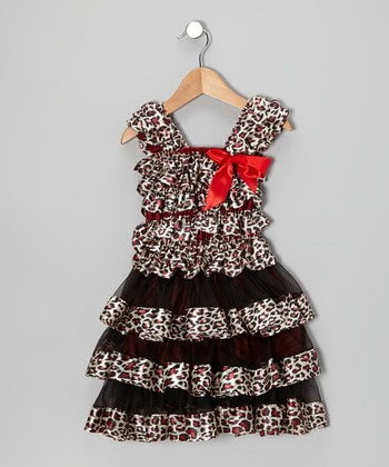 Black & Red Leopard Tier Ruffle Dress - Infant, Toddler & Girls