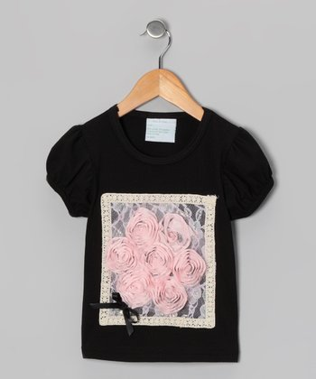 Black & Light Pink Frame Flower Tee - Infant, Toddler & Girls