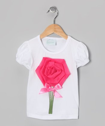 White & Hot Pink Rose Tee - Infant, Toddler & Girls