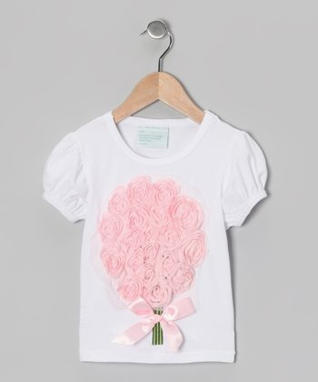White & Pink Tulle Flower Bouquet Tee - Infant, Toddler & Girls