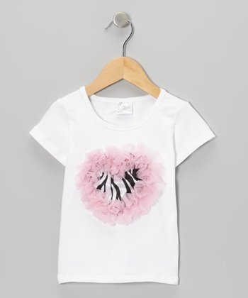White & Pink Zebra Ruffle Heart Tee - Infant, Toddler & Girls