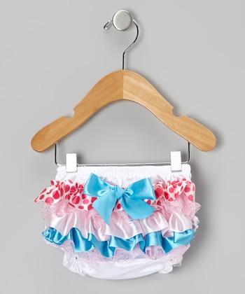 Teal & Pink Polka Dot Ruffle Diaper Cover - Infant & Toddler