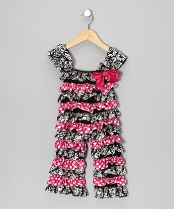 Black Damask Polka Dot Ruffle Jumpsuit - Infant & Toddler
