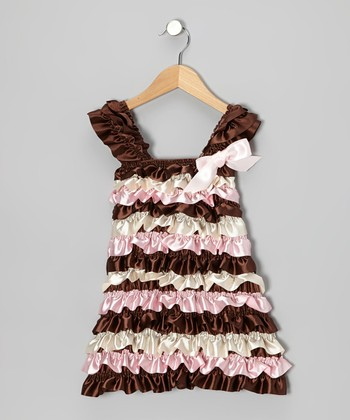 Brown & Pink Ruffle Cap-Sleeve Dress - Infant, Toddler & Girls
