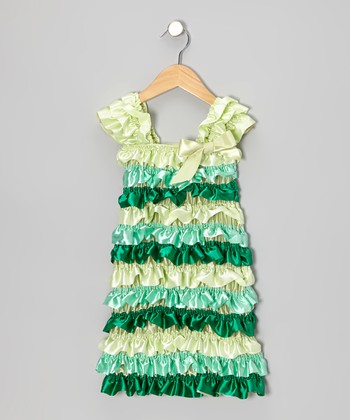 Green Ruffle Cap-Sleeve Dress - Infant, Toddler & Girls