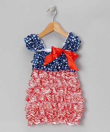 Red Patriotic Ruffle Cap-Sleeve Dress - Infant & Toddler