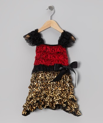 Red & Leopard Ruffle Cap-Sleeve Dress - Infant & Toddler