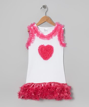 White & Hot Pink Heart Ruffle Dress - Infant, Toddler & Girls