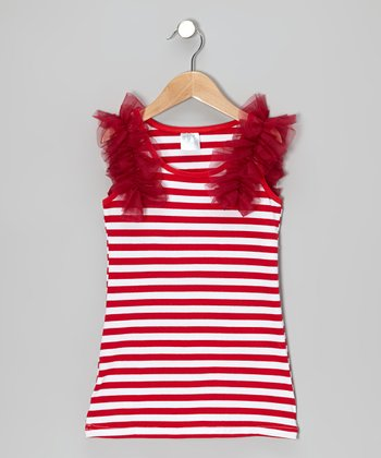 Cranberry & Red Stripe Shift Dress - Infant, Toddler & Girls