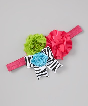 Pink & Green Zebra Flower Headband