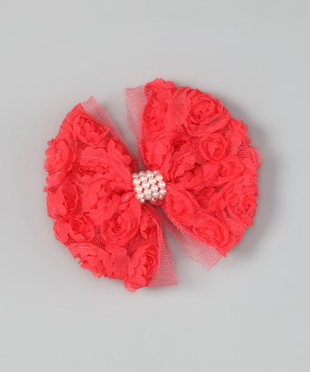 Watermelon Rosette Bow Clip