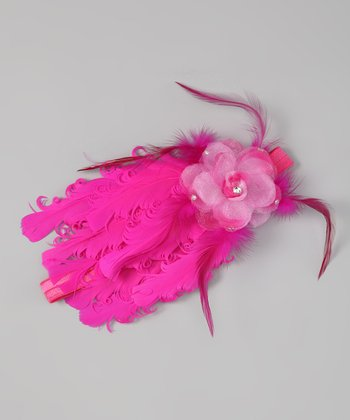 Hot Pink Full Feather Flower Headband