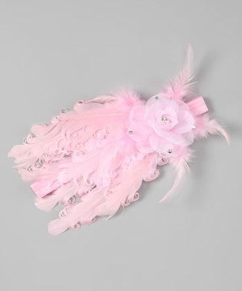 Pink Full Feather Flower Headband