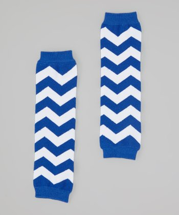 Blue & White Zigzag Leg Warmers