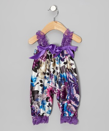 Purple Peony Bubble Romper - Infant & Toddler
