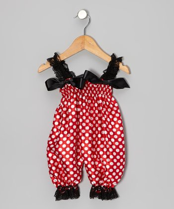 Red & Black Polka Dot Bubble Romper - Infant & Toddler