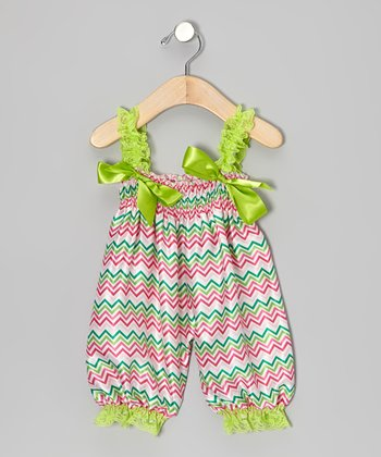 Green Zigzag Bubble Romper - Infant & Toddler