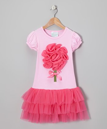 Pink & Hot Pink Blossom Dress - Infant, Toddler & Girls