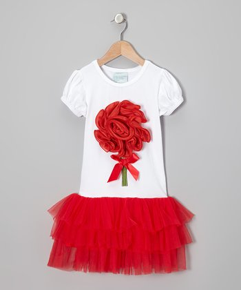 White & Red Blossom Dress - Infant, Toddler & Girls