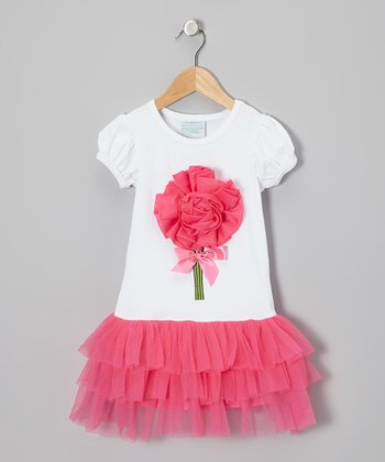 White & Hot Pink Rosette Dress - Infant, Toddler & Girls