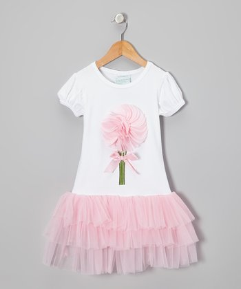 White & Pink Flutter Flower Dress - Infant, Toddler & Girls