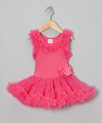 Hot Pink Ruffle Pettidress Dress - Infant, Toddler & Girls