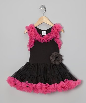 Black & Hot Pink Ruffle Swing Dress - Infant, Toddler & Girls