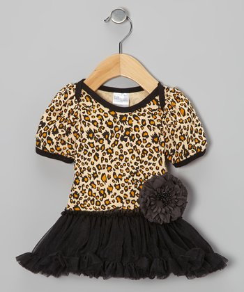 Black Leopard Skirted Bodysuit - Infant