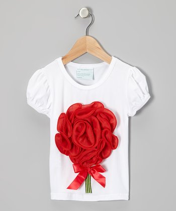 White & Red Flower Bouquet Tee - Infant, Toddler & Girls