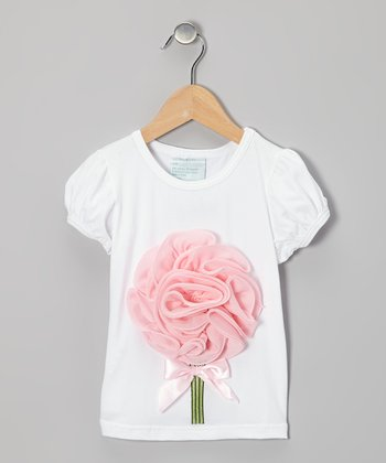 White & Pink Blossom Tee - Infant, Toddler & Girls