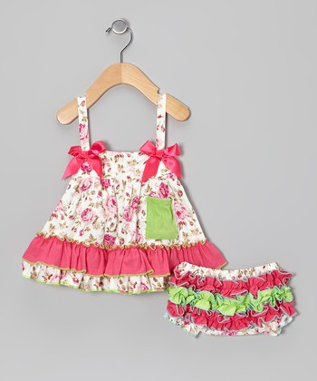 Hot Pink Floral Swing Top & Bloomers - Infant