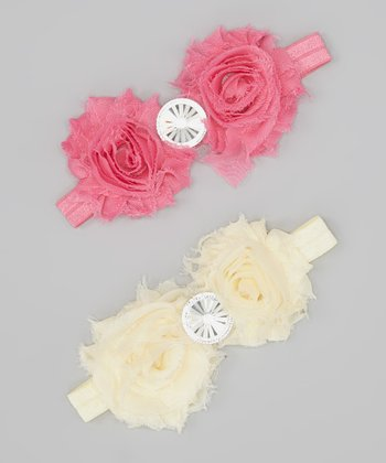 Cream & Hot Pink Rosette Rhinestone Headband Set