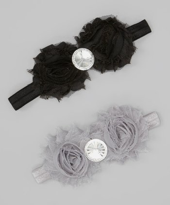Black & Gray Rosette Rhinestone Headband Set