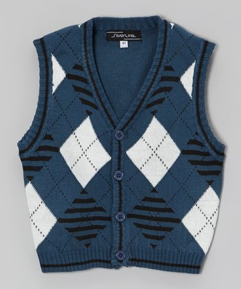 Denim Blue Argyle Sweater Vest - Infant, Toddler & Boys