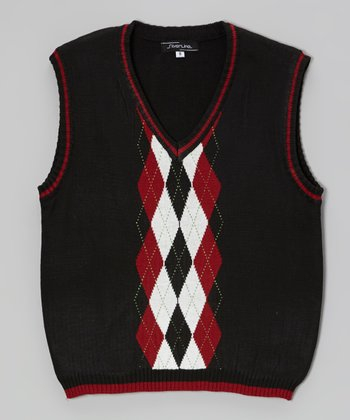 Black & Red Argyle Sweater Vest - Infant, Toddler & Boys