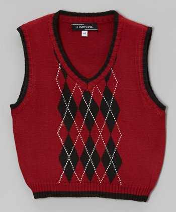 Burgundy Argyle Sweater Vest - Toddler & Boys
