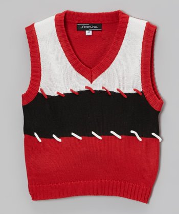 Red Color Block Stitch Sweater Vest - Toddler & Boys