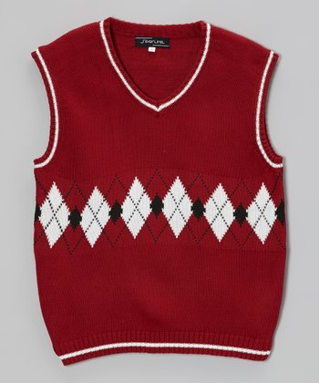 Burgundy Argyle Sweater Vest - Infant & Boys