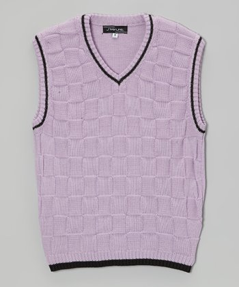 Lilac Checkerboard Sweater Vest - Infant, Toddler & Boys