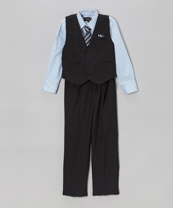 Black & Sky Blue Stripe Four-Piece Vest Set - Boys