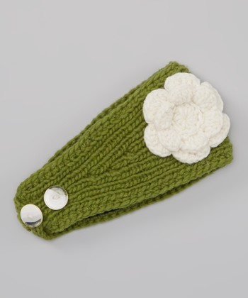 Green Rosa Cable Wool Head Wrap