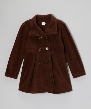 Brown Fleece Swing Coat - Girls