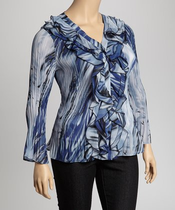Blue & White Cascade Crinkle Top - Plus