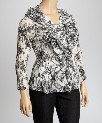 Black & White Floral Cascade Crinkle Top - Plus