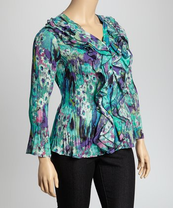 Aqua & Purple Cascade Crinkle Top - Plus