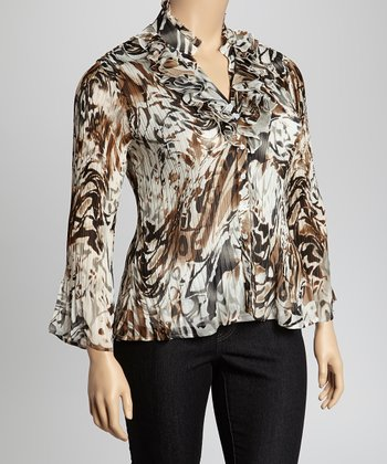 Black & Brown Swirl Small Cascade Crinkle Top - Plus